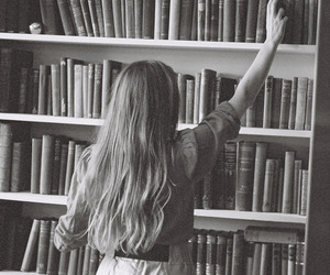 black and white, books, and long hair image