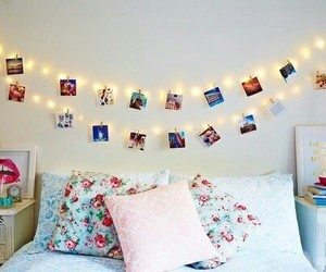 pillow, photo, and fairy lights image