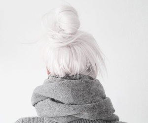 hair, white, and bun image