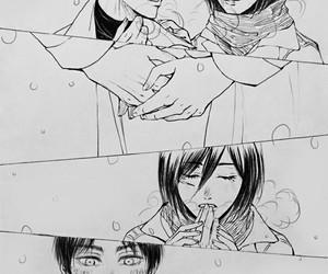 couple, mikasa, and shingeki no kyojin image