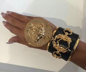 Versace, gold, and nails image