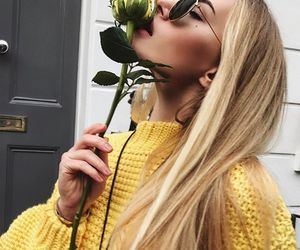 girl, yellow, and rose image