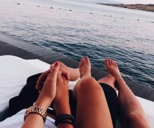 beach, couple, and boy image