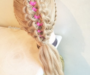 pink, butterflies, and ribbon braid image