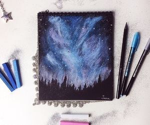 black, blue, and drawing image