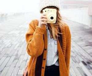 camera, cardigan, and cold image