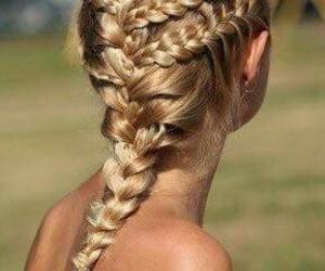 blonder, trenzas, and long hair image