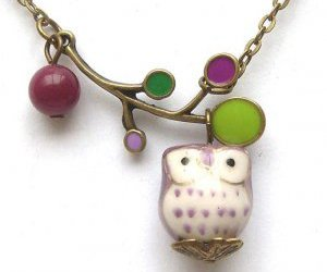girl, necklace, and owl image