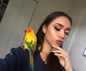 makeup, girl, and parrot image