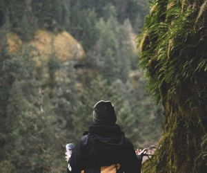 forest, girl, and mountains image
