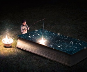 stars, book, and universe image