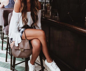 bags, girl, and shorts image