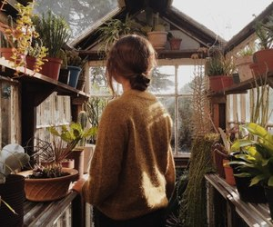girl, plants, and nature image