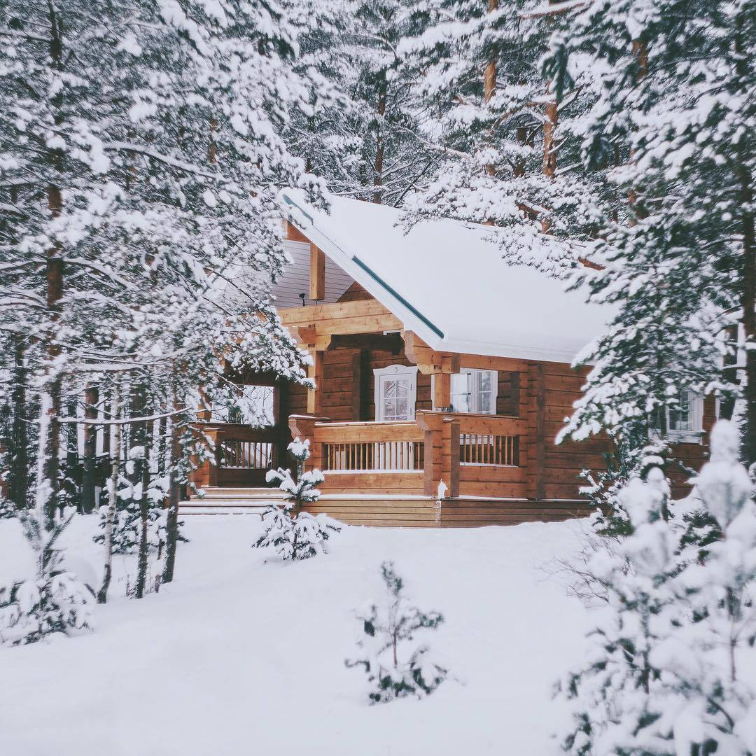 cabin, chill, and snowflakes image