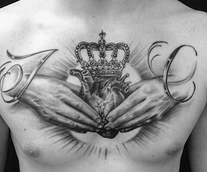 crown, tattoo, and ink image