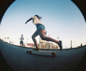 girl, skate, and longboard image