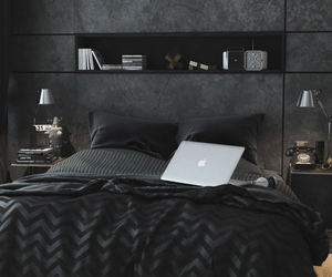 bedroom, black, and home image