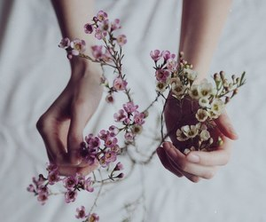 flowers, hands, and grunge image