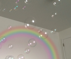 rainbow, bubbles, and aesthetic image