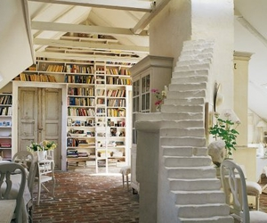 books, library, and stairs image