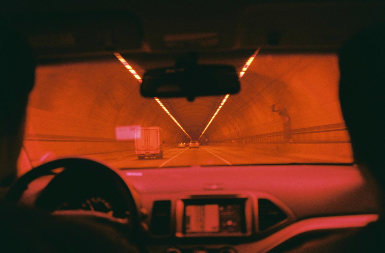 car, orange, and tunnel image