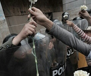 flowers, peace, and police image