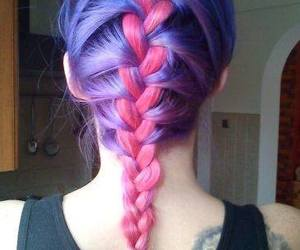 hair and pink and purple hair image