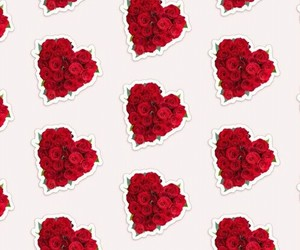 flowers, pattern, and red image
