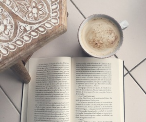 book, grey, and coffe image