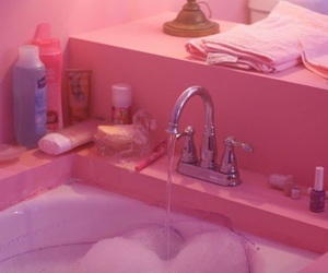 pink, aesthetic, and bathroom image