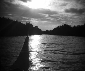 bw and water image