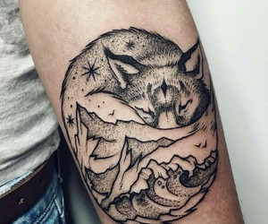 tattoo, wolf, and mountain image