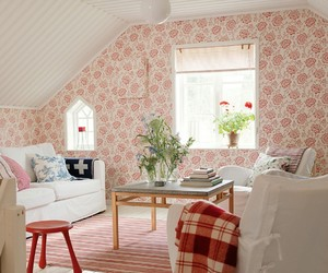 floral wallpaper, pink and white, and home decor image