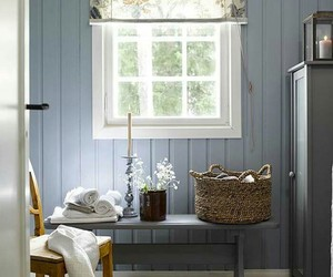 bathroom, blue walls, and country living image