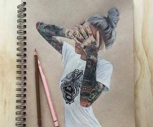 art, tattoo, and girl image
