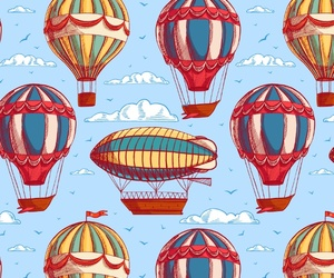 background, balloon, and clouds image