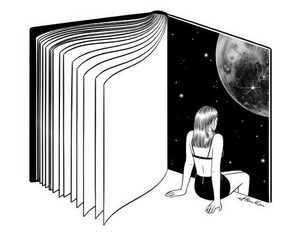 book, moon, and art image