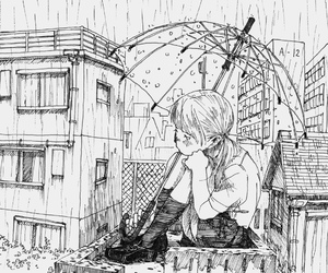 manga, rain, and anime image