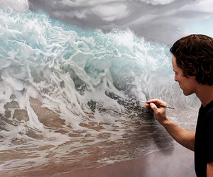 art, waves, and sea image