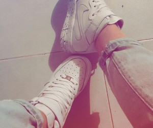 jeans, nike, and shoes image