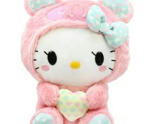 hello kitty, pink, and plush image