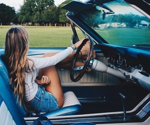 car, girl, and hair image