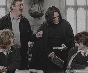 alan rickman, daniel radcliffe, and harry potter image