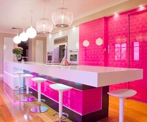 barbie house, kitchen, and pink kitchen image