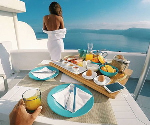 breakfast, sea, and couple image