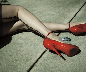 red, aesthetic, and heels image