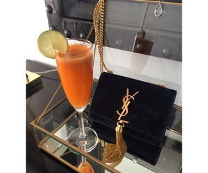 bag, Yves Saint Laurent, and drink image