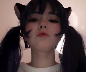 girl, asian, and cat image
