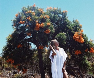 blonde, dress, and nature image