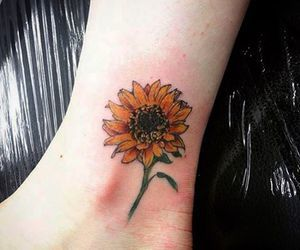 flower, sunflower, and tattoo image